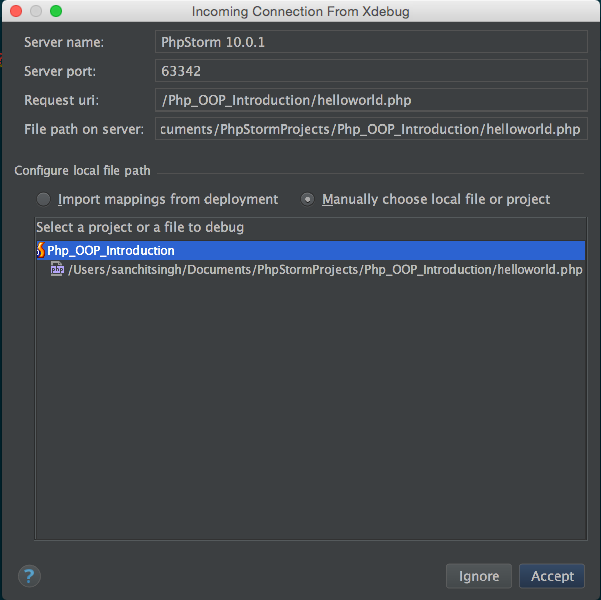 Xdebug Incoming Connection dialog box in Php Storm